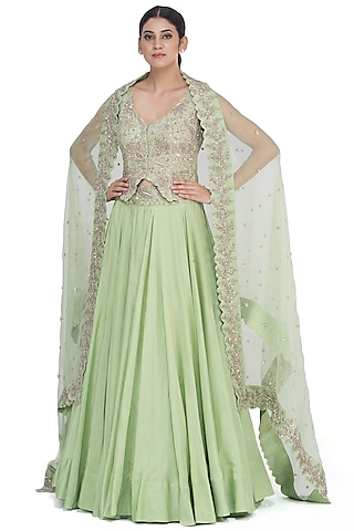 Green Embroidered Lehenga Set by Mrunalini Rao