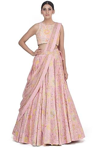 Pink Embroidered Lehenga Set by Mrunalini Rao