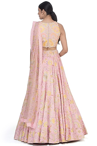 Pink Embroidered Lehenga Set by Mrunalini Rao
