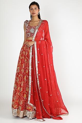 Red Embroidered & Printed Lehenga Set by Mrunalini Rao