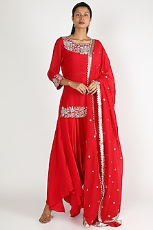 Red Embroidered Kurta Set by Mrunalini Rao-POPULAR PRODUCTS AT STORE