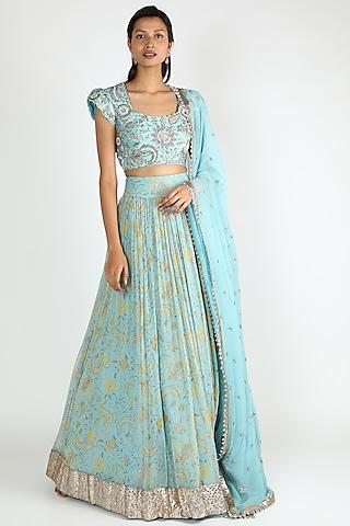 Powder Blue Embroidered & Printed Lehenga Set by Mrunalini Rao