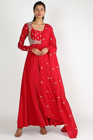 Red Embroidered Anarkali Set by Mrunalini Rao