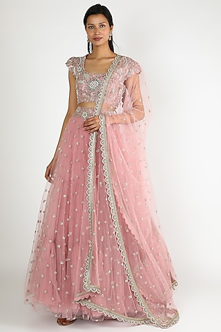 Blush Pink Lehenga Set With Pearl Work by Mrunalini Rao