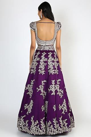 Purple Embroidered Lehenga Set by Mrunalini Rao