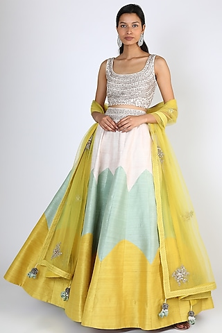 Multi Colored Lehenga Set by Mrunalini Rao