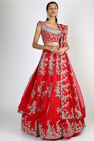 Red Embroidered Lehenga Set by Mrunalini Rao