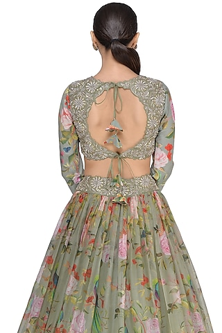 Olive Green Printed & Embroidered Lehenga Set by Mrunalini Rao
