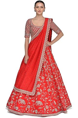 Red Zardosi Embroidered Lehenga by Mrunalini Rao