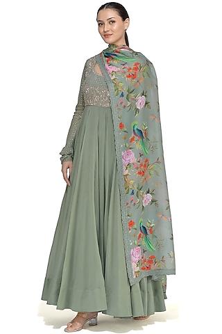 Olive Green Embroidered Anarkali Set by Mrunalini Rao