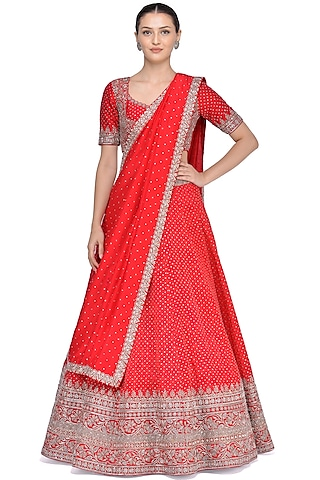Red Lehenga Set With Zardosi Embroidery by Mrunalini Rao
