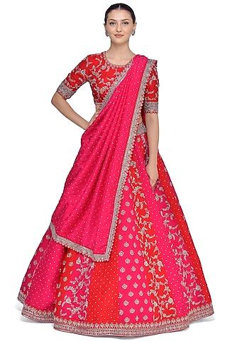 Red & Pink Embroidered Lehenga Set by Mrunalini Rao