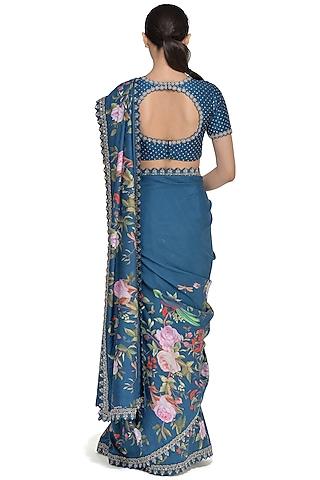 Ocean Blue Embroidered Saree Set by Mrunalini Rao