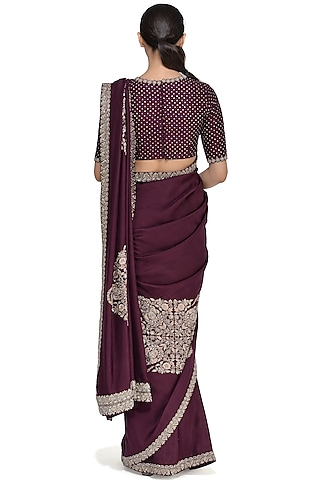 Deep Violet Embroidered Saree Set by Mrunalini Rao