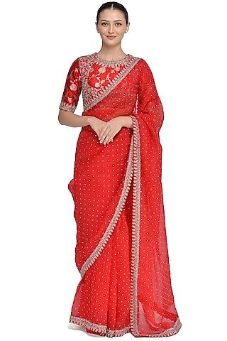Red Embroidered Saree Set by Mrunalini Rao