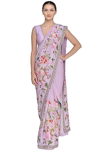 Lilac Printed Saree Set by Mrunalini Rao