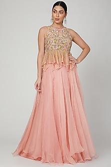 Blush Pink Embroidered Skirt Set by Mrunalini Rao