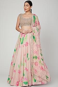 Peach Printed & Embellished Lehenga Set by Mrunalini Rao