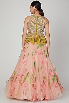 Parrot Green & Peach Embroidered Skirt Set by Mrunalini Rao