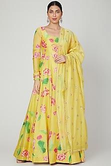 Yellow Printed Anarkali With Dupatta by Mrunalini Rao
