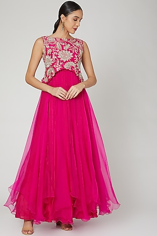 Pink Embroidered Dress With Blouse by Mrunalini Rao