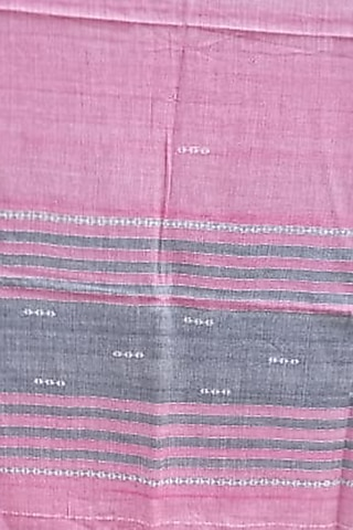 Pink Handwoven Stole With Grey Motifs by Rupali Kalita