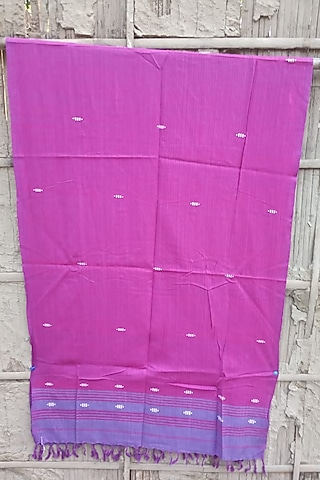 Magenta Handwoven Stole With Blue Motifs by Rupali Kalita
