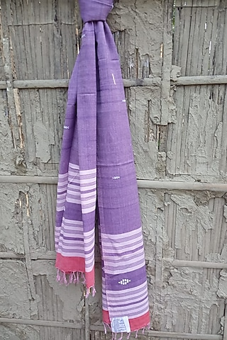 Purple Handwoven Stole by Rupali Kalita