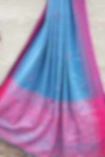 Light Blue & Pink Handwoven Saree by Rupali Kalita
