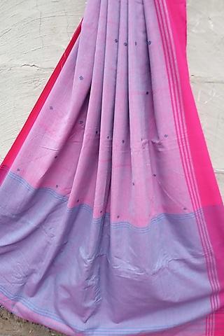 Pink Handwoven Striped Saree by Rupali Kalita