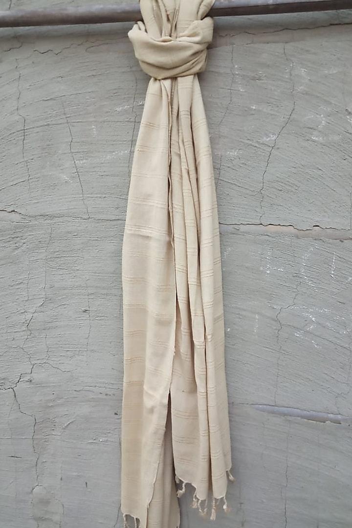 Beige Handwoven Cotton Stole by Rupali Kalita