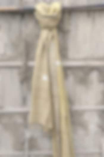 Beige Handwoven Stole With White Motifs by Rupali Kalita