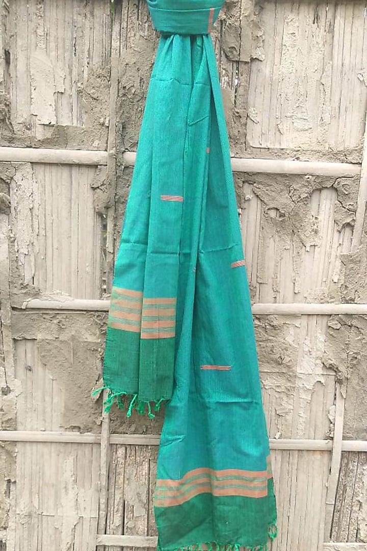 Blue Cotton Handwoven Stole by Rupali Kalita