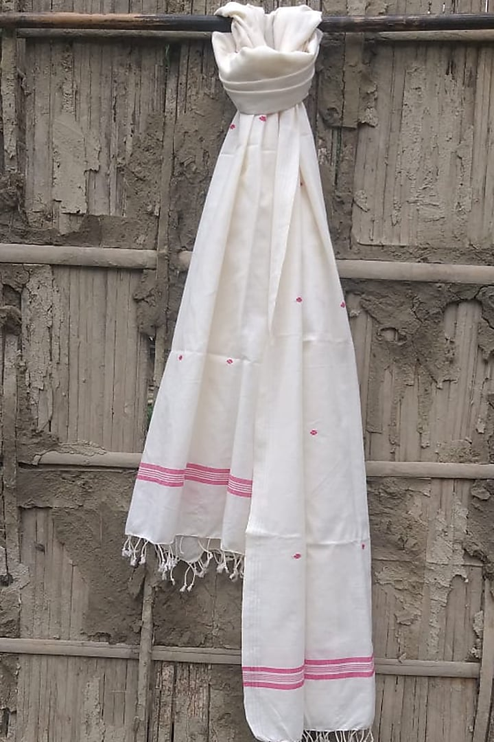 White Cotton Handwoven Stole by Rupali Kalita