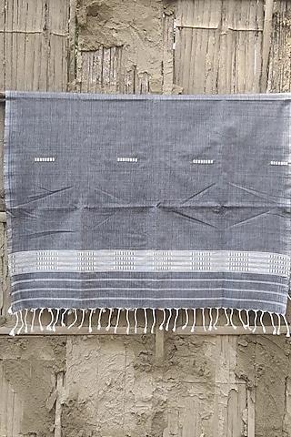 Grey Handwoven Cotton Stole by Rupali Kalita