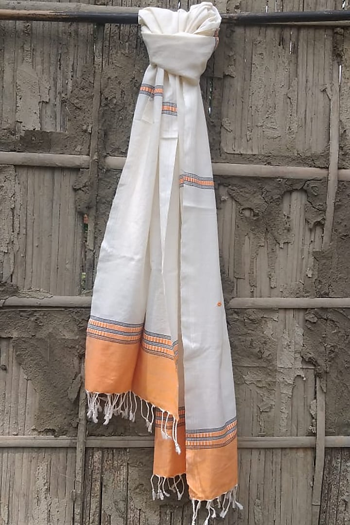 White Handwoven Stole by Rupali Kalita