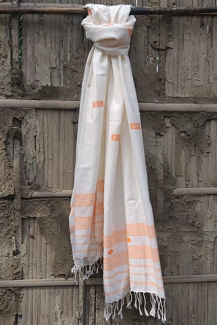 White & Orange Handwoven Stole by Rupali Kalita