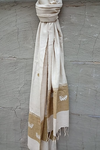 White & Golden Handwoven Stole by Rupali Kalita