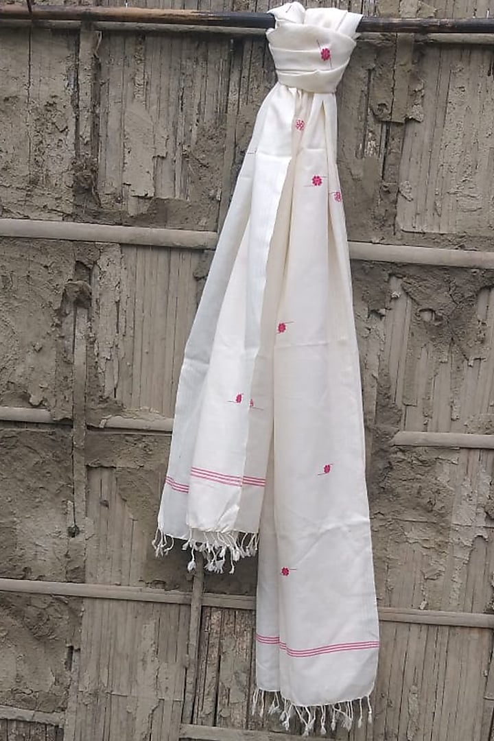White & Red Handwoven Stole by Rupali Kalita