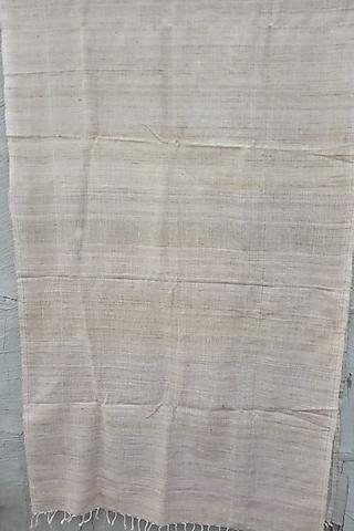 Beige Handwoven Eri Stole by Rupali Kalita