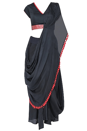 Navy blue embroidered drape saree set by Ruceru Couture