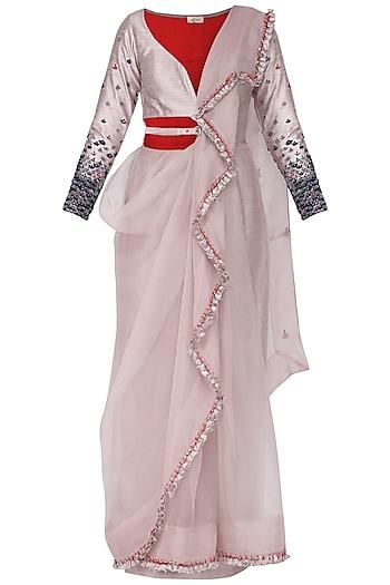 Victorian grey predraped saree set by Ruceru Couture