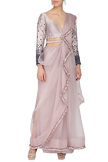 Victorian grey predraped saree set by Ruceru Couture