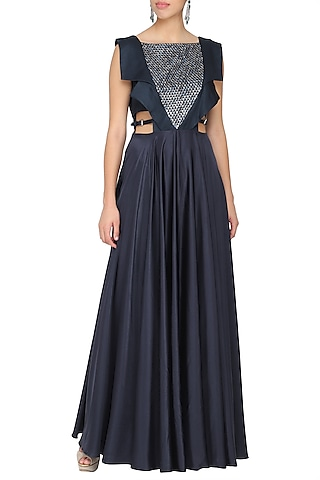 Navy blue embroidered gown by Ruceru Couture