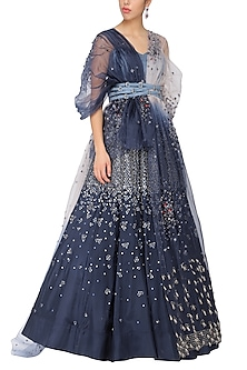 Navy blue embroidered top and lehenga skirt by Ruceru Couture