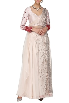 Oyster pink embroidered drape blouse and pants by Ruceru Couture