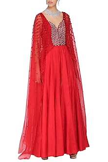 Crimson red embroidered drape jumpsuit by Ruceru Couture