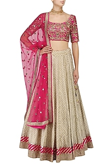 Off White Block Print Lehenga and Hot Pink Blouse Set by Mrunalini Rao