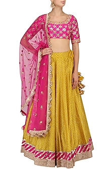 Mustard Block Print Lehenga and Hot Pink Blouse Set by Mrunalini Rao