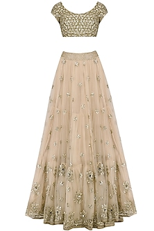 Off White Sequins Embroidered Lehenga and Blouse Set by Mrunalini Rao